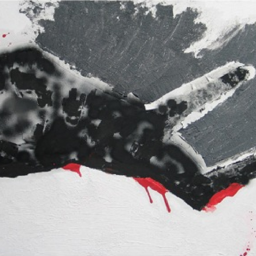 Artwork dead dog on asphalt